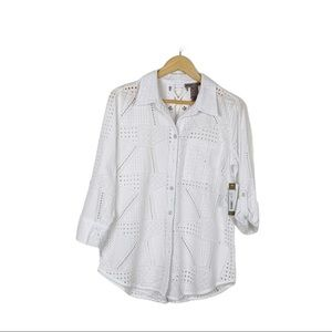 Sharon Young White Eyelet Button Down Top Size S